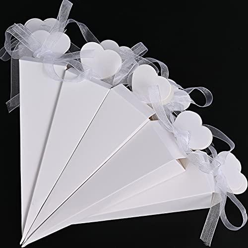 Faburo 120 Pz Portariso Portaconfetti Incluso Nastri Cono Coni con Nastrino Bianca a Rilievo per Matrimonio Compleanno Battesimo Comunione Nascita Laurea Natale