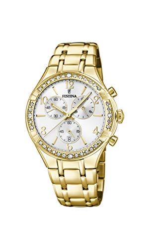 Festina Damen Chronograph Quarz Uhr mit Edelstahl Armband F20395/1