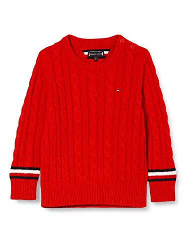Tommy Hilfiger Jungen Essential Cable Sweater Pullover, Deep Crimson, 14