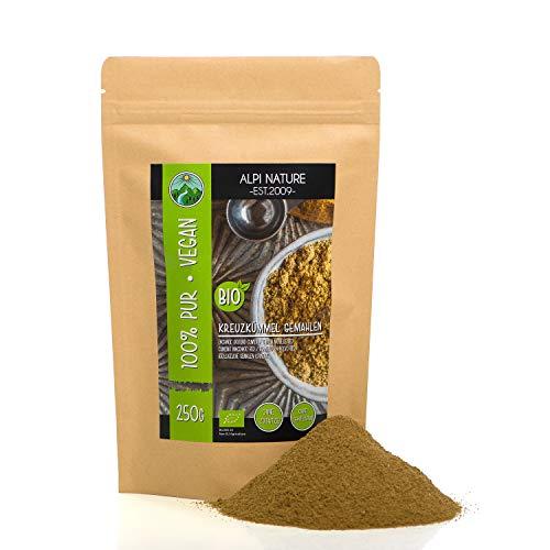Cumino macinato biologico (250g), cumino in polvere, semi di cumino macinato in qualità di cibo crudo da coltivazione biologica certificata, testati in laboratorio, vegani