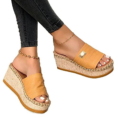 HUAJIE Sandalias con Plataforma para Mujer Cuero Cómodos Zapatillas De Playa Verano Plataforma Sandalias De Cuña Cojín Suela Antideslizante Zapatos De Playa,Amarillo,41