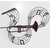 Dongbin 3D Wanddeko Metall Wandschmuck Dreidimensionale Musikinstrument Wandbehang Moderne Metall Wandskulptur Lebendige Musik Rhythmus Wandbehang Ornament Schmiedeeisen Kunst Instrument Handwerk,B