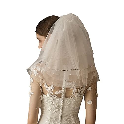 Velo nupcial corto de novia con peine 2 niveles de marfil blanco...
