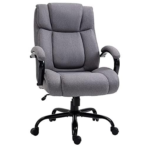 Vinsetto Bürostuhl Schreibtischstuhl Gaming Stuhl Drehstuhl Wippfunktion drehbar höhenverstellbar groß und hoch extrabreit ergonomisch Belastbarkeit 220 kg Schaumstoff Leinen Hellgrau 72,5x83x118 cm