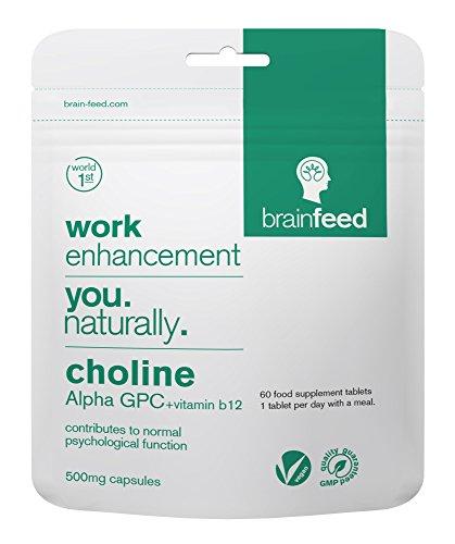 brain feed Colina Alfa GPC 99% Suplemento de memoria 500mg 60 Cápsulas| Nootrópico para el enfoque y la concentración | Suplemento vegano| Fabricado en Reino Unido