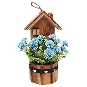 VIVIXIXILAOJH DIY Handmade Silk Artificial Carnation Wooden House Pot Simulation Fake Flower