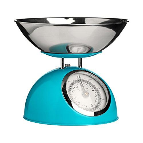 Premier Housewares Báscula mecánica de Cocina, 5 kg, Color Azul, H21 x W24 x D24cm