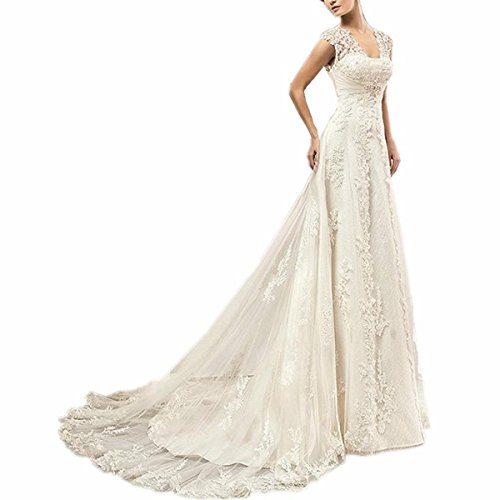 EVANKOU Damen Lang Spitze Brautkleider Hochzeitskleid Vintage mit Träger Rückenfrei Elfenbein Größe 38