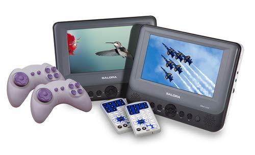 Salora DVP7748DUO+GC - Portable DVD speler - 2 DVD spelers - 2 schermen (7 inch) - Accu - USB - SD - Games - Accessoires