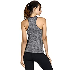 DISBEST Yoga Tank Top, Women's Performance Stretchy Quick Dry Sports Workout Running Top Vest with Removable Pads (Dark Grey, Large)