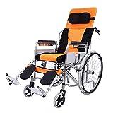 WZB - Sedia a rotelle Portatile Pieghevole Multifunzione per Anziani con Sedia a rotelle La Carrozzina per Anziani può Essere inserita Completamente nella Sedia a rotelle