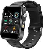 AMBM Reloj inteligente para teléfonos Android, compatible con IP67, resistente al agua, reloj deportivo, monitor de ritmo cardíaco, reloj digital, relojes inteligentes para hombres y mujeres, negro