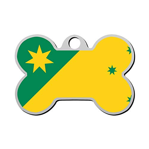 Silithus Green Flag Personalized Pet Dog Tag License Plate Pet ID Tag Bone Shaped Metal Dog Decoration