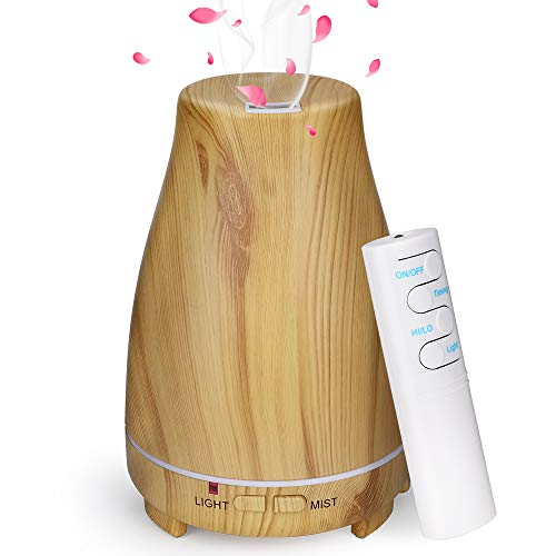 GeeRic Aroma Diffuser 200ML Luftbefeuchter Ultraschall Vernebler,Raumbefeuchter Aromatherapie Öle Duftlampe mit 7 Farben LED Helles Holz