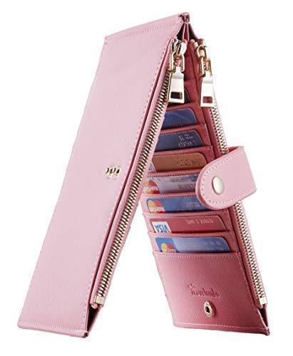 Travelambo Womens Walllet RFID Blocking Bifold Multi Card Case Wallet with Zipper Pocket Crosshatch (Pink Sakura 2191)