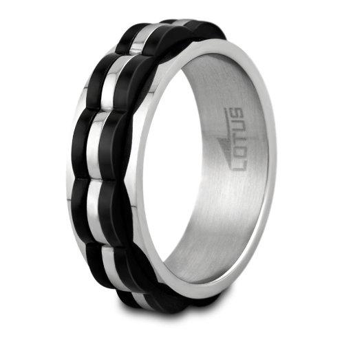 Lotus Style para Hombre anillo de acero inoxidable con movimiento sin capa Talla 62