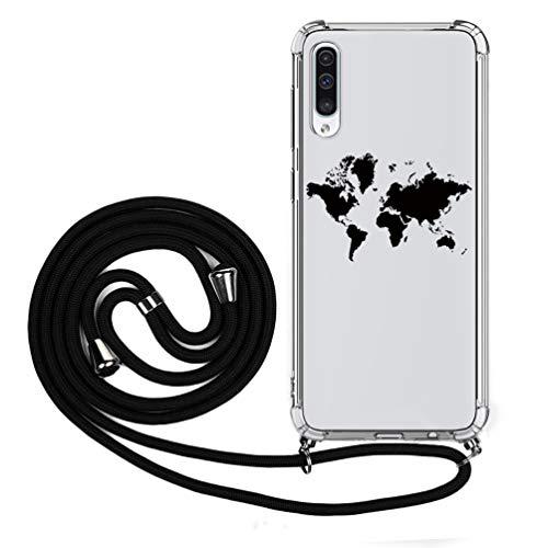 Handykette Handytasche Kompatible für Samsung Galaxy A50 Hülle Silikon Hülle Transparent Cover Handyhülle Umhängeband Trageschlaufe Kordel Lanyards Schutzhülle Schnur Bumper Hand Strap-Landkarte