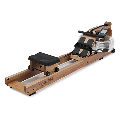 TOPIOM Rowing Machine,Home Wooden Water Resistance Rowing Machine for Home Fitness Exercise,with Adjustable Footrest and Bench,with LCD Display (Light Brown)