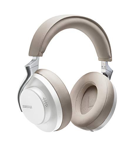 Shure AONIC 50 - Auriculares inalámbricos y con cancelación de ruido, calidad de estudio, Bluetooth 5, ajuste seguro sobre la oreja, 20 horas de batería, fácil de utilizar - Blanco/Bronceado