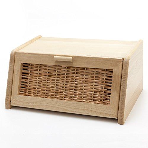 Holzfee Brotkasten mit Rattaneinsatz | Brotbox Holz Buche Rattan