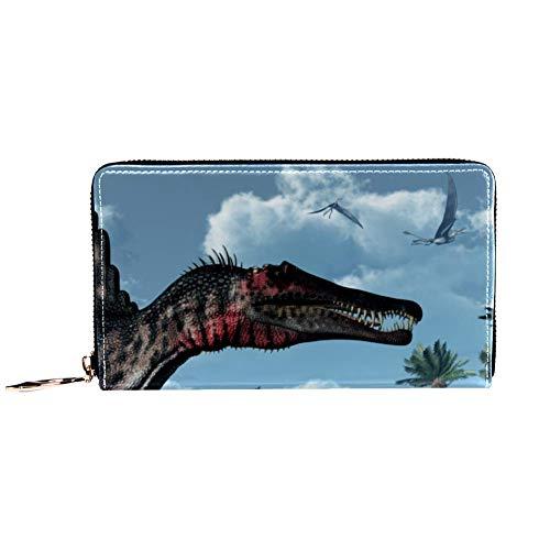 Damen Geldbörse mit Reißverschluss und Handy, Clutch, Reisetasche, Kartenhalter, Organizer, Handgelenke, Jurassic Dinosaurier und Pflanzen