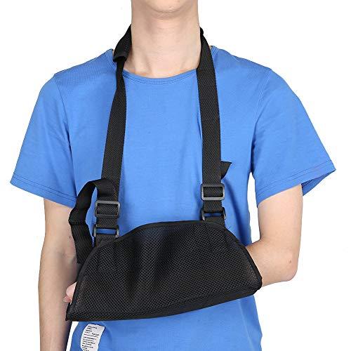 Eslinga de soporte de brazo - Codo fijo Ortesis correctiva Protector de fractura de brazo, Eslinga de brazo Inmovilizador de hombro con correa dividida ajustable(negro)