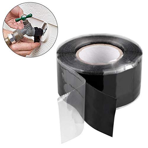 Hihey Reparatietape plakband afdichtband zwart rubber silicone reparatietape waterdicht plakband 2,5 * 300 cm
