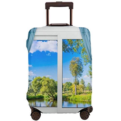 Reiskoffer beschermer, landelijk uitzicht vanuit het raam reflectie in Water Lake River Tree in de zomer, koffer cover wasbare bagage Cover