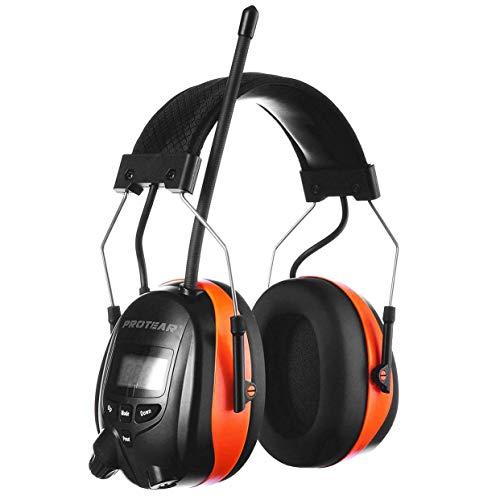 PROTEAR Gehörschutz mit Radio und Bluetooth, Wiederaufladbare FM/AM Radio Eingebautem Mikrofon für Industrie, BAU und Mähen Lärmreduzierung-SNR 30dB(Orange)