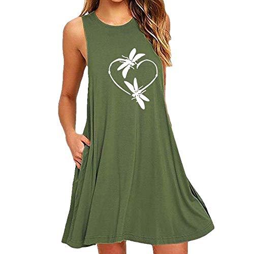 U/A Damen Pyjama mit Libellen-Aufdruck, ärmellos, schmal Gr. X-Large, grün