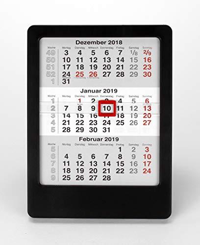 HiCuCo 3-Monats-Tischkalender für 2021 + 2022 + 2023 - Aufstellkalender - schwarz - Vela - TypV
