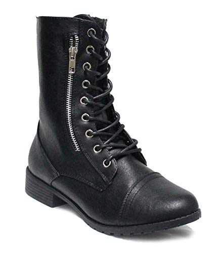 Forever Link Womens Mango Round Toe Military Lace Up Knit Ankle Cuff Low Heel Combat Boots (Black Zipper, 7)