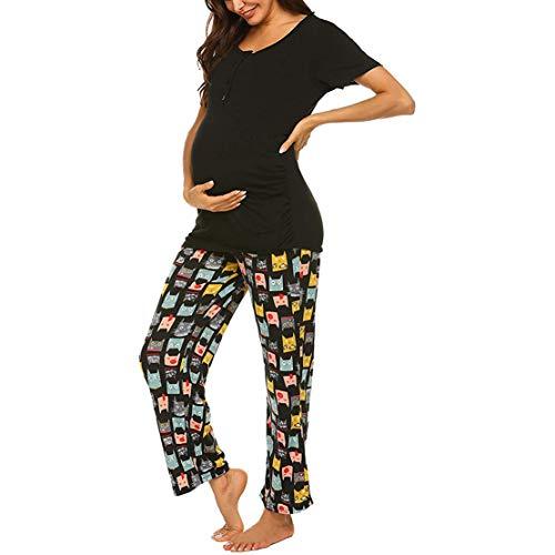 Pijama Lactancia Hospital Ropa para Dormir para Premamá Mujer Embarazada Manga Corta Tops y Pantalones Conjunto Verano/L Negro-B