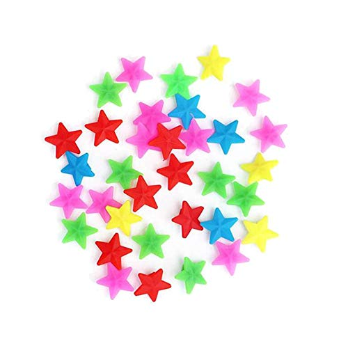 2Bags (72PCS) Colorful Star Shape Plastic Bike Spoke Beads Wheel Line Beads Bicycle Decoration Biking Accessories Tire Ornament Small Bicycle Accessories for Wheelbarrow Kids Children Adult Bicycle