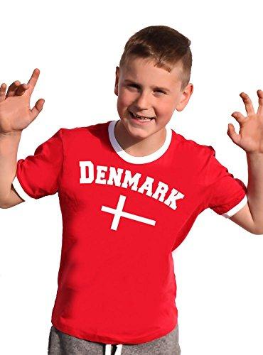 Coole-Fun-T-Shirts Dänemark T-Shirt Kinder Ringer rot, 128