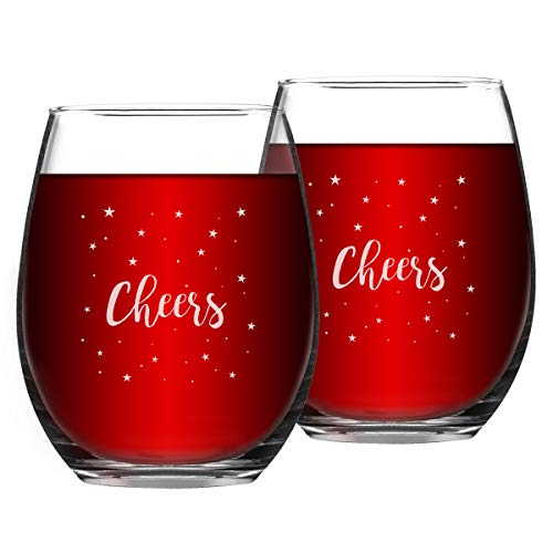 Set of 2 Cheers Christmas Wine Glasses with White Stars Home Xmas Festival Decoration Stemless Wine Glasses Holiday Celebration Drinkware Christmas Gifts (White Cheers, 15 Oz)