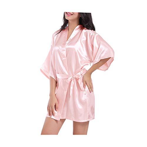 Morbuy Damen Morgenmantel kurzer Kimono Seidenrobe Weicher Hochzeitstag Braut Bademantel V Ausschnitt Mit Gürtel Nachthemd Negligee Nachtwäsche Pyjama (M, Hell-Pink)