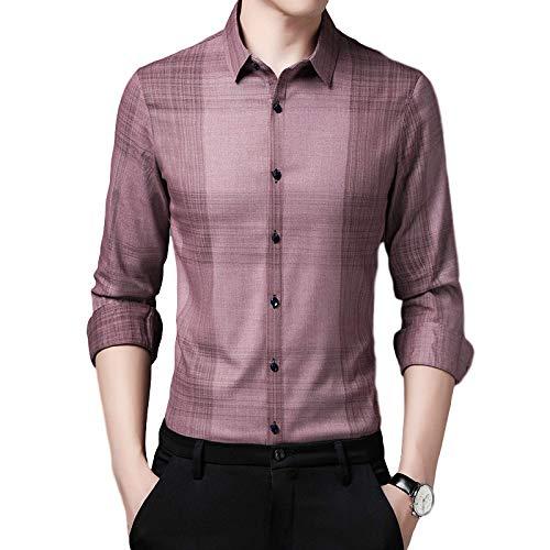Camisas de Manga Larga para Hombre, Estampado a Rayas, Ajustado, cómodo, de un Solo Pecho, Cuello Vuelto, Camisas Casuales de Primavera y otoño X-Large