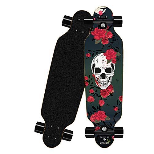 HLKJGS Longboard Skateboard 32 Zoll,ABEC-7 Kugellager,8-lagigem Ahornholz Komplettboard Skateboard,für Kinder Erwachsene Anfänger Teenager - Rose