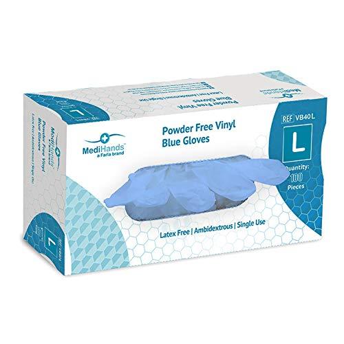 MediHands - Guanti in vinile senza polvere, usa e getta, senza lattice, taglia L, confezione da 100