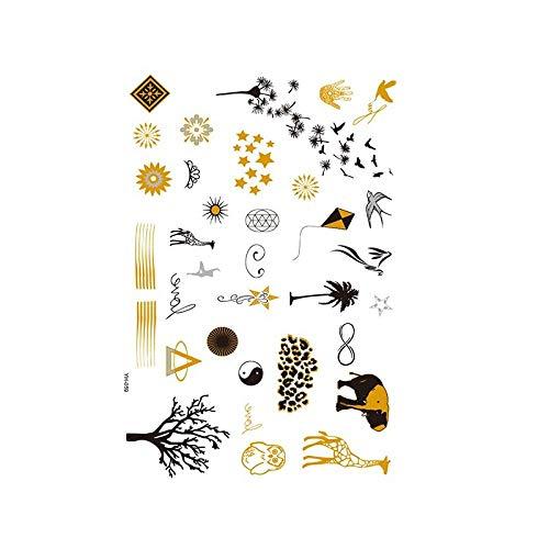 Autocollants de tatouage bronzage rétro autocollants de tatouage imperméables ensemble autocollants d'impression de couleur argent chaud-YH-059_148 * 210MM
