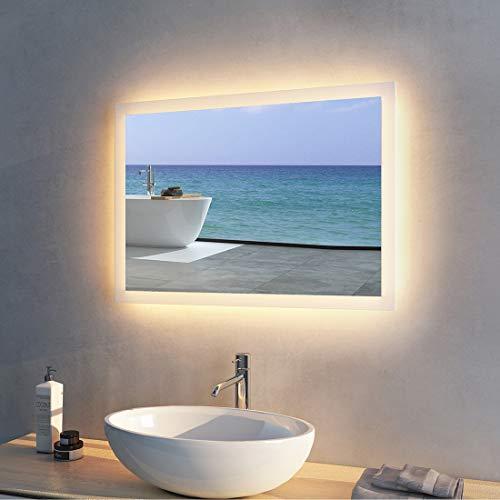 Meykoers Wandspiegel Badezimmerspiegel LED 50x70cm Badspiegel mit Beleuchtung Warmweiß 3000K, Spiegel mit Beleuchtung Lichtspiegel
