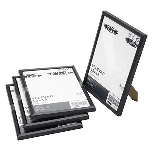 Ikea YLLEVAD Bilderrahmen, Kunststoff, Karton, 13 x 18 cm, Schwarz, 4 Stück