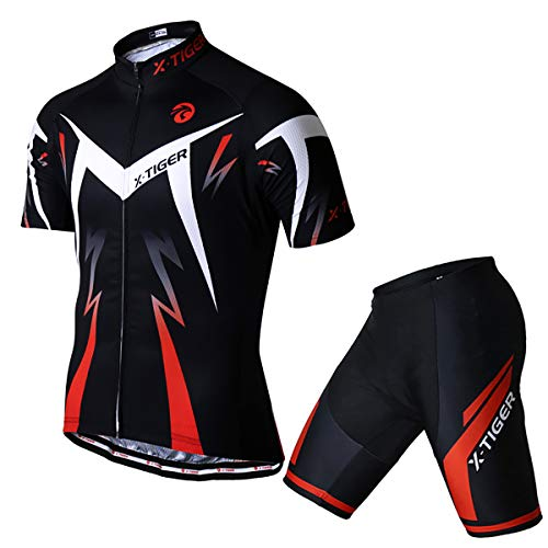 X-TIGER Men's Cycling Jersey Set,Biking Short Sleeve Set with 5D Gel Padded Shorts,Cycling Clothing Set for MTB Road Bike,Red L