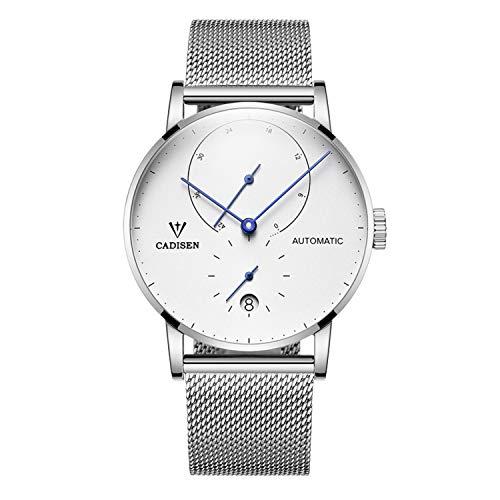 Cadisen Herren Automatik-Uhr Minimalistische Armbanduhr mit Mesh-Armband