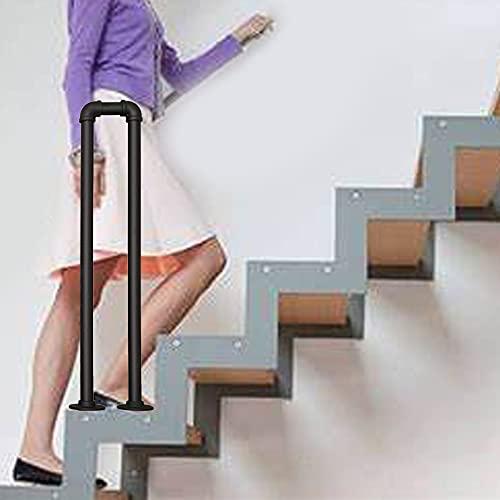 Barandilla Barandilla de escalera negra mate Barandillas en forma de U para escaleras interiores y exteriores Hierro forjado en forma de U, barandilla antideslizante para interiores y exteriores