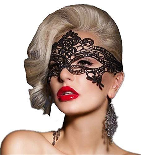 ANGAZURE-DE Schwarze Spitze Augenmaske, Lace Mask Venezianische Maskerade Spitzen Maske Filigree Augenmaske Faschingsmasken Maskerade