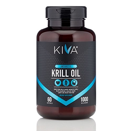 Kiva Antarctic Krill Oil - 1000 mg Ultra Pure, High Concentration with Astaxanthin (Heavy Metal and PCBs Tested) Omega 3, DHA, EPA, (60 Softgels)