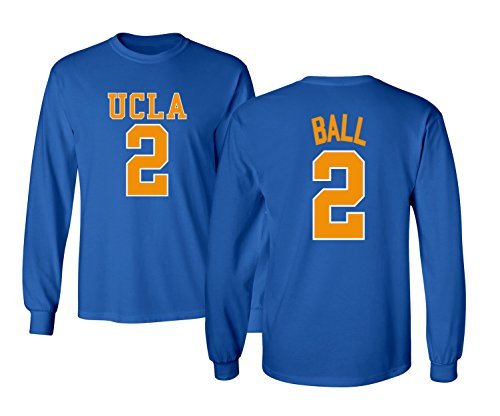 KINGS SPORTS 2017 Bruins Lonzo Ball 2 College Basketball Men's Long Sleeve T Shirt (Royal,S)