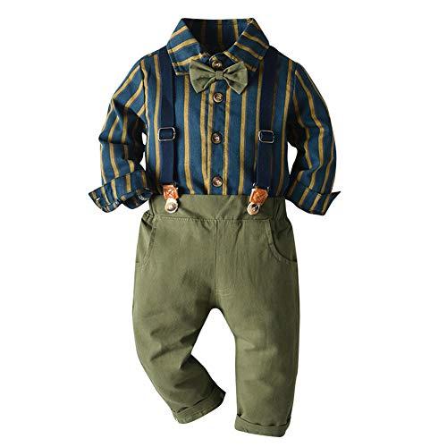 IBAKOM Kleinkind Baby Jungen Gentleman Smoking Anzug Fliege Hemden + Hosenträger Hosen Formelle Party Geburtstag Hochzeit Kleidung Set Blau gestreift 2-3 Jahre